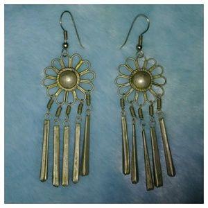 Shabby Chic Metal Flower Earrings